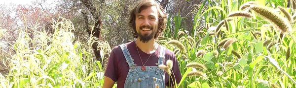 Instructor Matt Powers in a permaculture garden